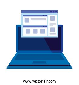 laptop computer with webpage template