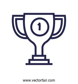 trophy cup award with number one linear style