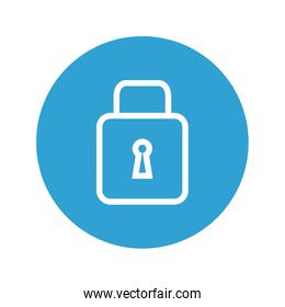 safe secure padlock in blue circle icon
