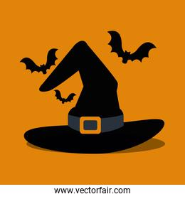halloween hat of witch and bats flying