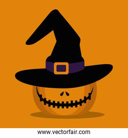 halloween pumpkin with hat witch