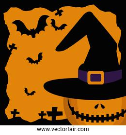 halloween pumpkin with hat witch and bats flying