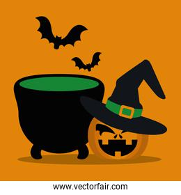 halloween pumpkin with hat witch and cauldron