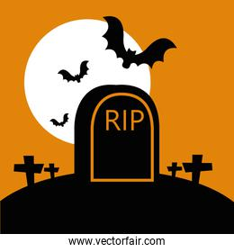 halloween tomb in cemetery with bats flying