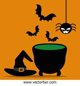 halloween cauldron with hat witch and icons