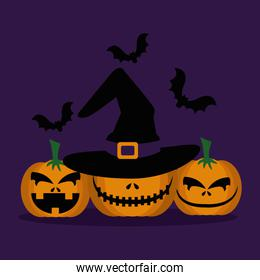 halloween pumpkins with hat witch and bats flying
