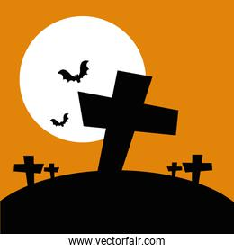 halloween crosses with bats flying and icons