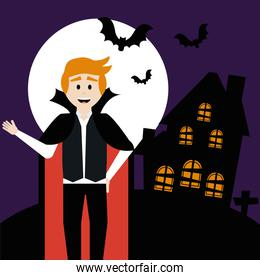 young man disguised of vampire with home haunted