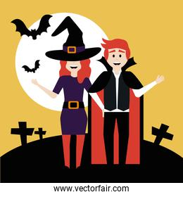 young couple disguised of witch and vampire