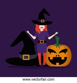 young woman disguised of witch