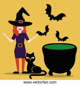 young woman disguised of witch with cauldron