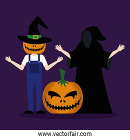 halloween young men disguised with pumpkin