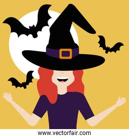 young woman disguised of witch and bats flying