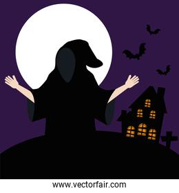 young man disguised of death in dark night