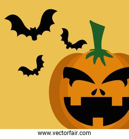 halloween pumpkin with bats flying