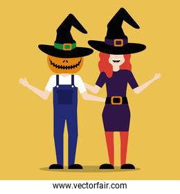halloween young couple disguised avatar character