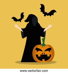 young man disguised of death with pumpkin