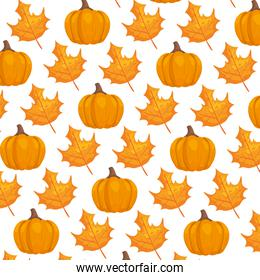 autumn pattern with leafs and pumpkins