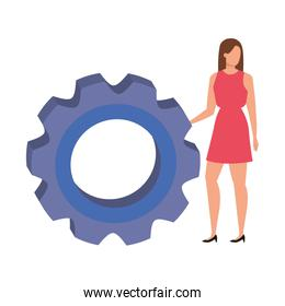 elegant business woman with gear avatar character
