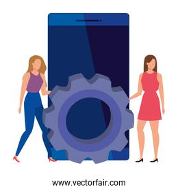 women with gear and smartphone device
