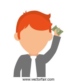 person with bill money isolated icon