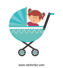 cute little girl character in baby cart