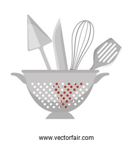fried pot with cutlery kitchen tool isolated icon