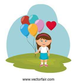 little girl with balloons air