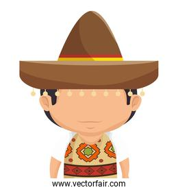 mexican man character isolated icon