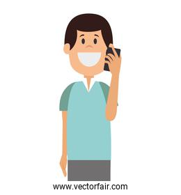 man avatar character with smartphone