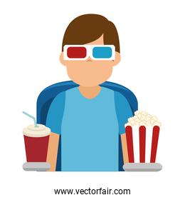 Person watching 3d movies