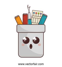 Sewing set comic character isolated icon
