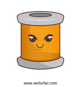 sewing threads comic character isolated icon