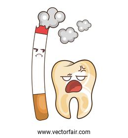 teeth funny character with cigarette kawaii style