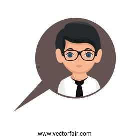 man avatar character with speech bubble