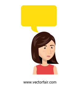 businesswoman character avatar with speech bubble
