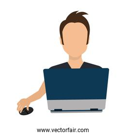 businessman character avatar with laptop