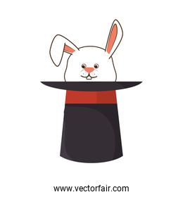 Wizard hat with rabbit isolated icon