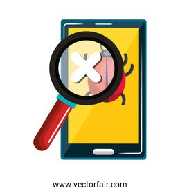 smartphone device with security shield isolated icon