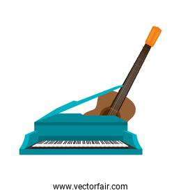 guitar and piano instrument isolated icon