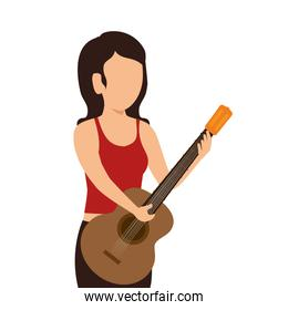 woman playing guitar instrument isolated icon