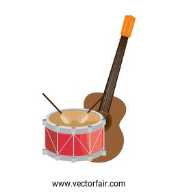 guitar and drum instrument isolated icon