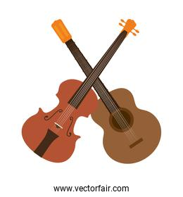 guitar and chello instrument isolated icon