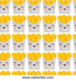 french fries character kawaii style pattern