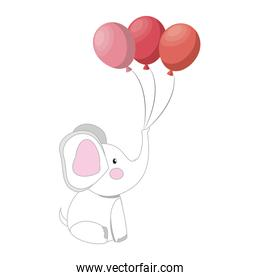 baby elephant with balloons party