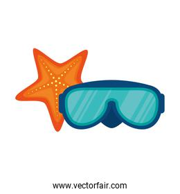 diving glasses isolated icon