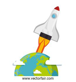 Planet of the solar system with rocket