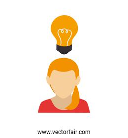 businesswoman faceless with light bulb isolated icon