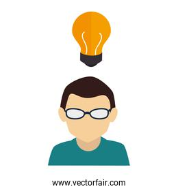 businessman character avatar with idea icon