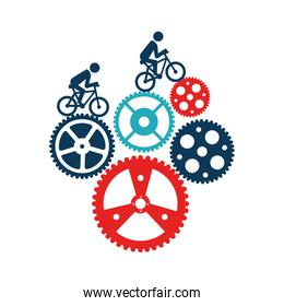 Cycling sport emblem icon